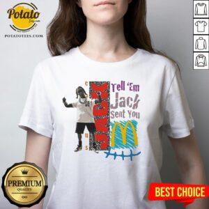 Tell Em Jack Sent You Blue V-neck - Design By Potatotees.com