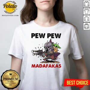 The Mandalorian Baby Yoda Pew Pew Madafakas V-neck