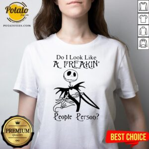 Top Jack Skellington Do I Look Like A Freaking People Person V-neck - Design By Potatotees.com