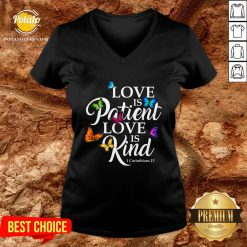 Top Womens Love Is Patient Love Is Kind 1 Corinthians 13 Butterfly Art V-neck - Design By Potatotees.com