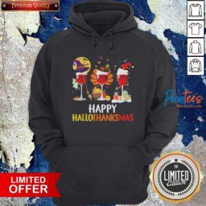 Wine Halloween Thanksgiving Christmas Happy Hallothanksmas Hoodie - Design By Potatotees.com