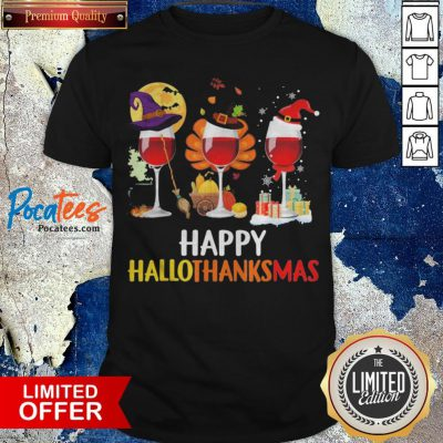 Wine Halloween Thanksgiving Christmas Happy Hallothanksmas Shirt - Design By Potatotees.com