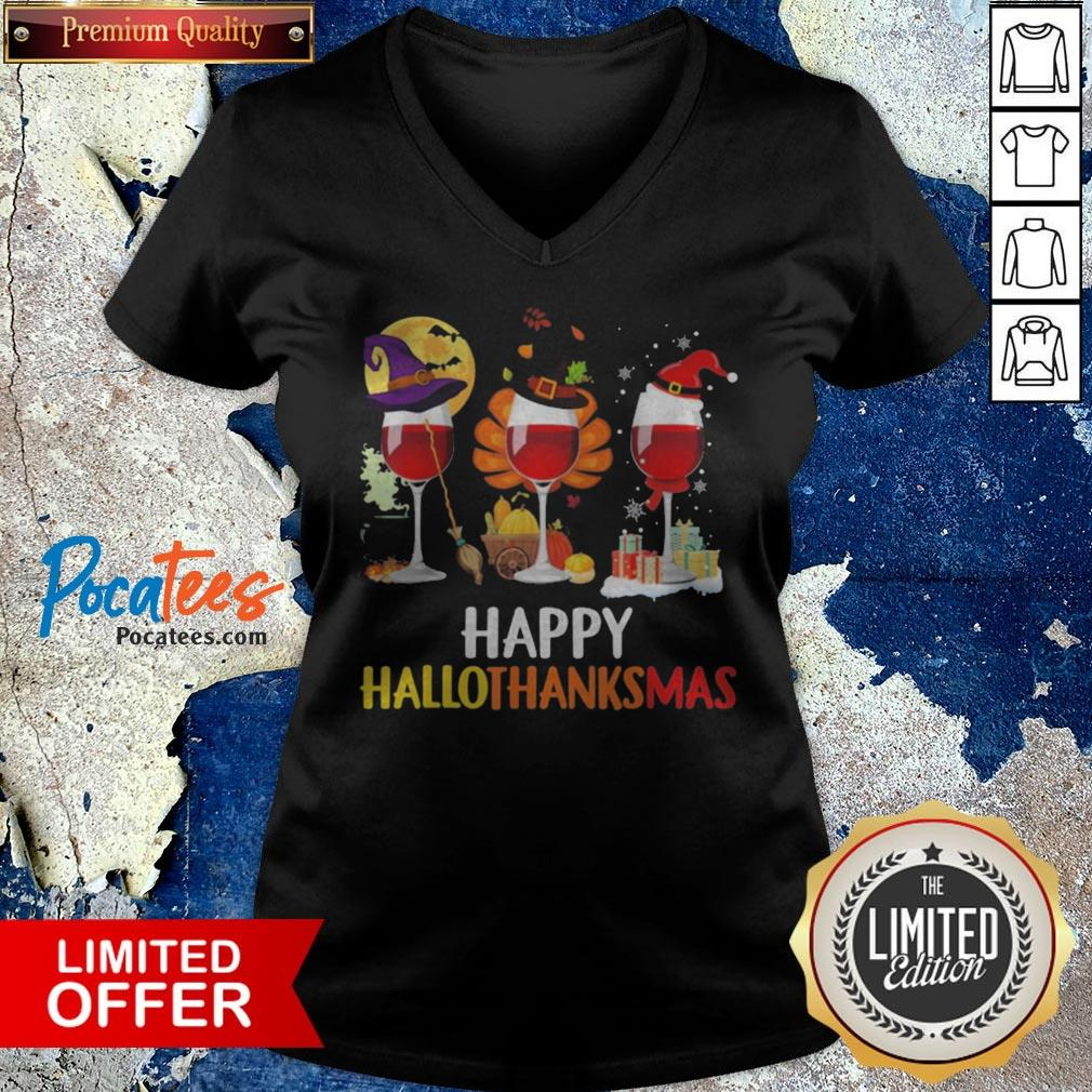 Wine Halloween Thanksgiving Christmas Happy Hallothanksmas V-neck - Design By Potatotees.com