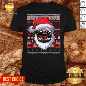 Cute Merry Christmas Quarantine Ugly Santa Mask Sweater Shirt - Design By Potatotees.com