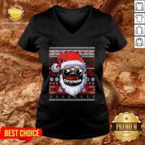 Cute Merry Christmas Quarantine Ugly Santa Mask Sweater V-neck - Design By Potatotees.com
