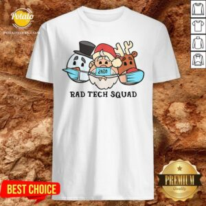 Cute Santa Claus 2020 Rad Tech Squad Snow And Reindeer Wear Mask Shirt - Design By Potatotees.com