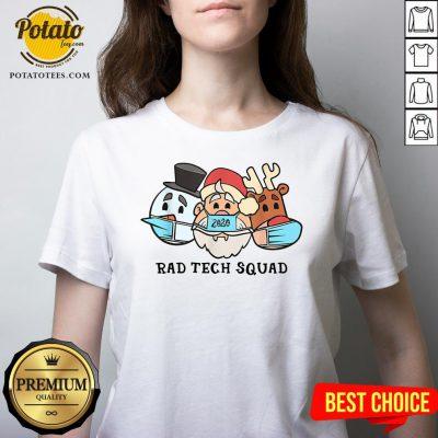 Cute Santa Claus 2020 Rad Tech Squad Snow And Reindeer Wear Mask V-neck - Design By Potatotees.com