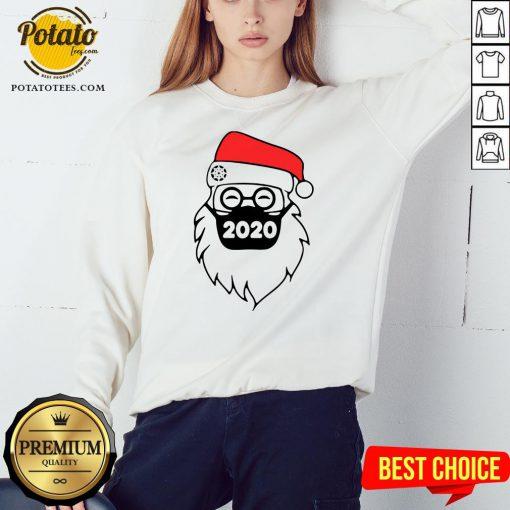 Cute Santa Wearing Mask 2020 Christmas Sweatshirt - Design By Potatotees.com