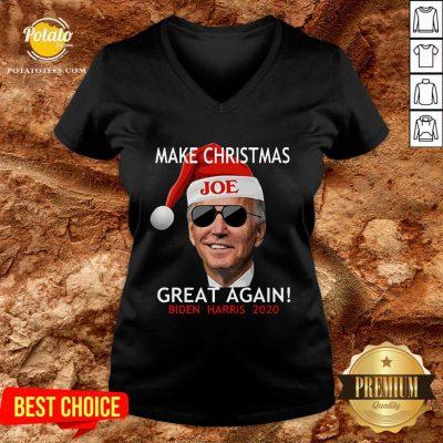 Funny Joe Biden Kamala Harris 2020 Make Christmas Great Again V-neck - Design By Potatotees.com