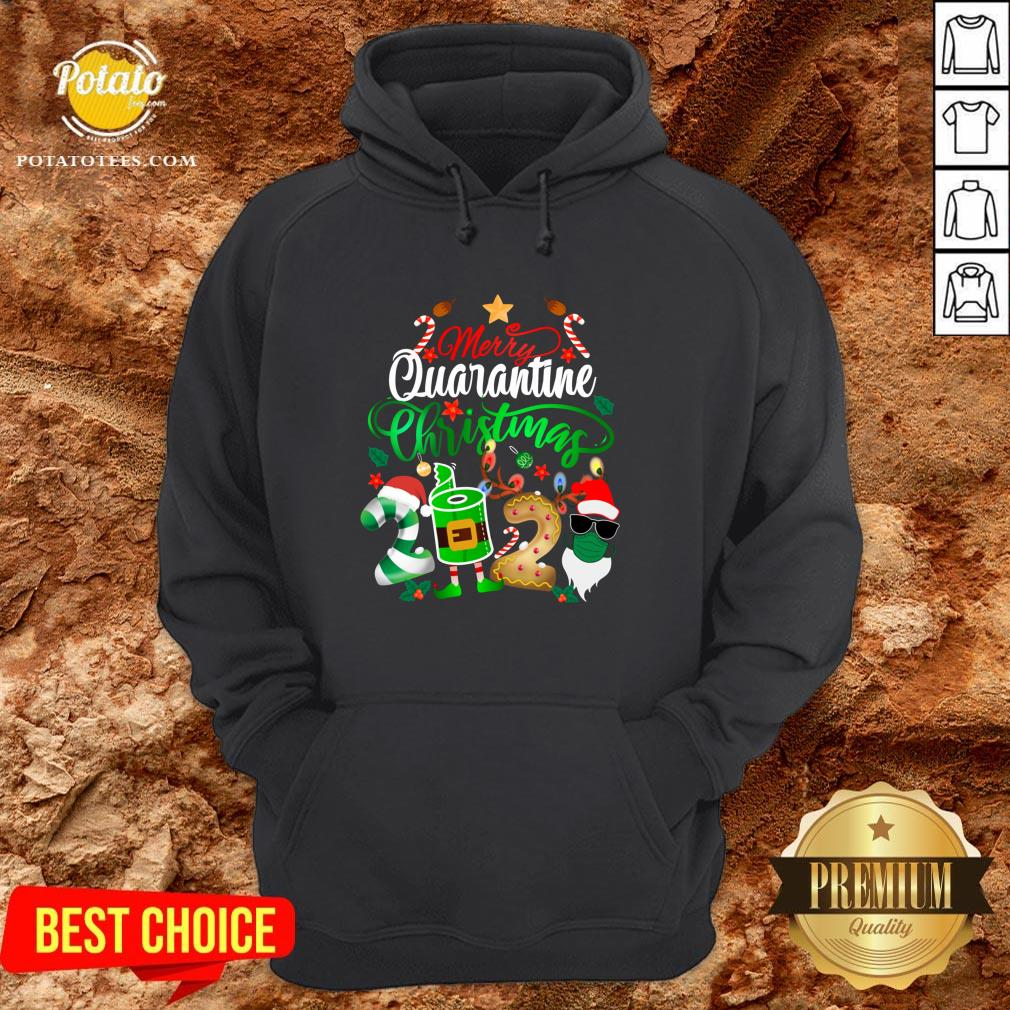Funny Merry Quarantine Christmas 2020 Elf Santa Claus Face Mask Hoodie - Design By Potatotees.com