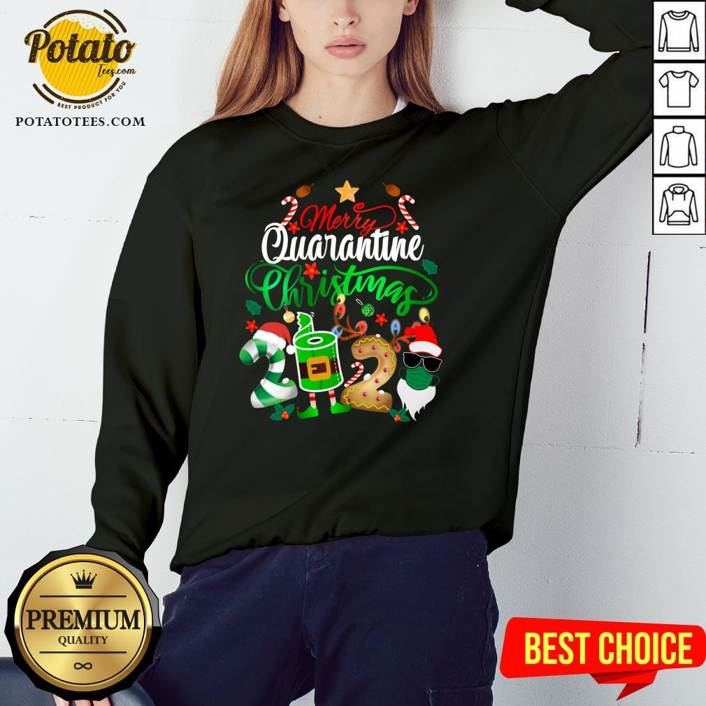 Funny Merry Quarantine Christmas 2020 Elf Santa Claus Face Mask Sweatshirt - Design By Potatotees.com