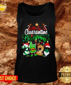 Funny Merry Quarantine Christmas 2020 Elf Santa Claus Face Mask Tank Top - Design By Potatotees.com