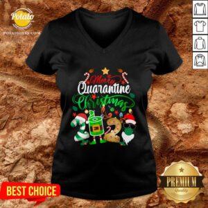 Funny Merry Quarantine Christmas 2020 Elf Santa Claus Face Mask V-neck - Design By Potatotees.com