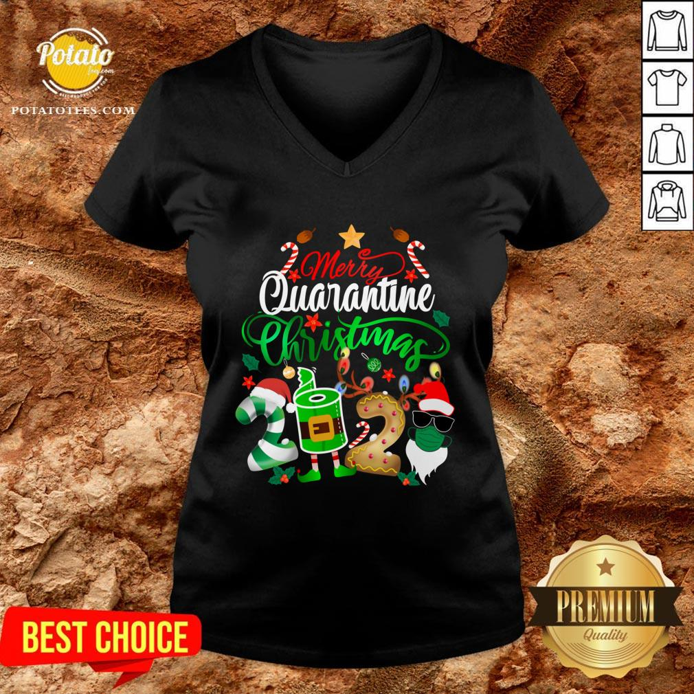Funny Merry Quarantine Christmas 2020 Elf Santa Claus Face Mask V-neck - Design By Potatotees.com