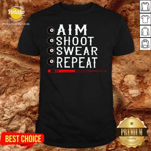 Good Aim Shoot Swear Repeat Billiards Christmas Shirt - Design By Potatotees.com