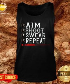 Good Aim Shoot Swear Repeat Billiards Christmas Tank Top- Design By Potatotees.com