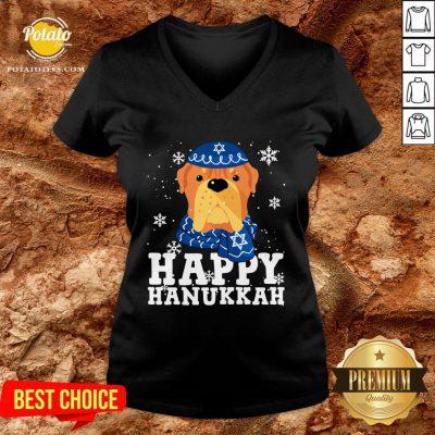 Good Merry Christmas Happy Hanukkah French Mastiff Dog Funny Noel Xmas V-neck - Design By Potatotees.com