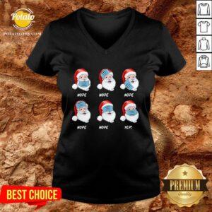 Good Santa Claus Wearing Mask Wrong Nope Christmas V-neck - Design By Potatotees.com