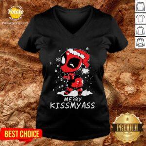 Good Santa Deadpool Merry Kiss My Ass Christmas V-neck - Design By Potatotees.com