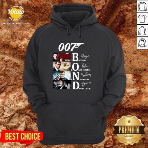 Great 007 Pierce Brosnan Roger Moore Sean Connery Daniel Craig Signature Hoodie - Design By Potatotees.com
