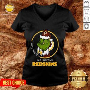 Great I Hate People But I Love My Washington Redskins Grinch V-neck - Design By Potatotees.com