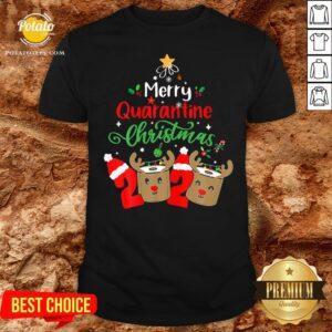 Great Merry Quarantine Christmas 2020 Reindeer Toilet Paper Shirt - Design By Potatotees.com