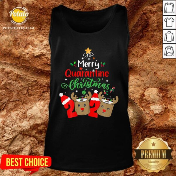 Great Merry Quarantine Christmas 2020 Reindeer Toilet Paper Tank Top - Design By Potatotees.com