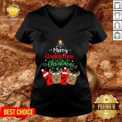 Great Merry Quarantine Christmas 2020 Reindeer Toilet Paper V-neck - Design By Potatotees.com