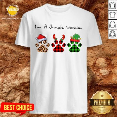 Great Plaid Paw Santa I'm A Simple Woman Christmas Shirt - Design By Potatotees.com