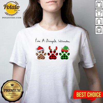 Great Plaid Paw Santa I'm A Simple Woman Christmas V-neck - Design By Potatotees.com