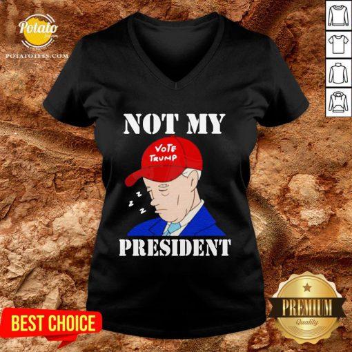 Happy Biden Sleepy Joe Not My President Anti Joe Biden Pro Trump V-neck - Design By Potatotees.com