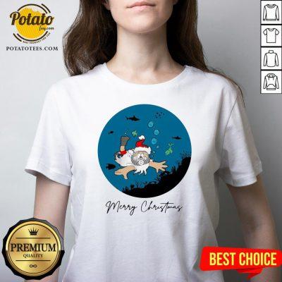Happy Santa Claus Dive Merry Christmas V-neck - Design By Potatotees.com