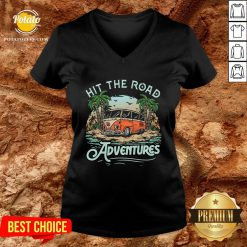 Hot Hit The Road Adventures V-neck - Design By Potatotees.com