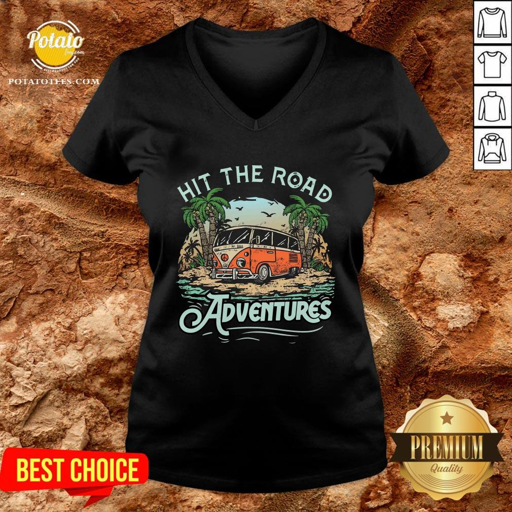 Hot Hit The Road Adventures V-neck - Design By Potatotees.com