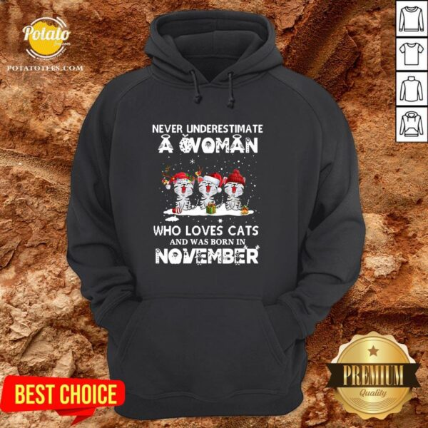 Hot Never Underestimate A Woman Who Loves Cats And Was Born In November Christmas Hoodie - Design By Potatotees.com
