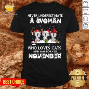Hot Never Underestimate A Woman Who Loves Cats And Was Born In November Christmas Shirt - Design By Potatotees.com