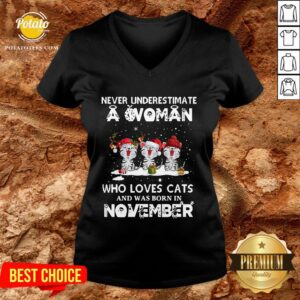 Hot Never Underestimate A Woman Who Loves Cats And Was Born In November Christmas V-neck - Design By Potatotees.com