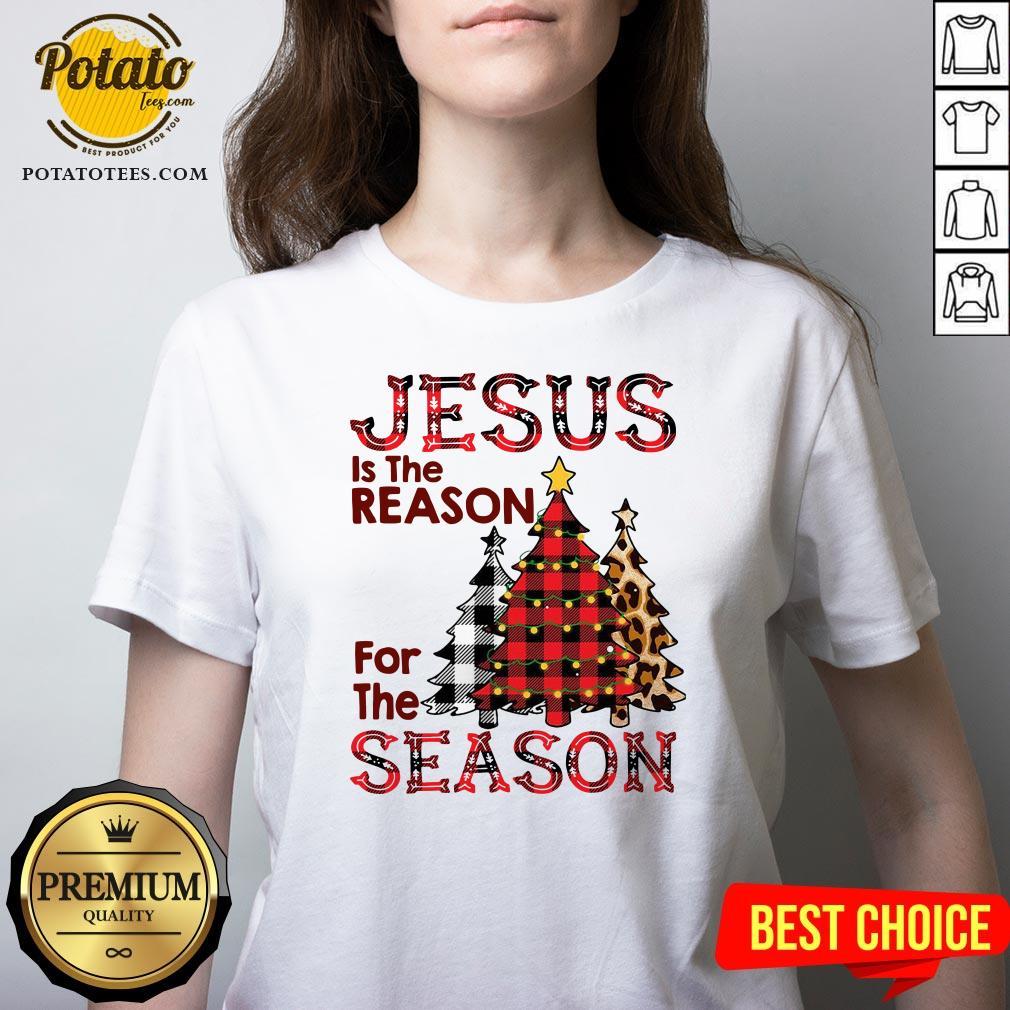 Hot Plaid Jesus Is The Reason For The Season Pine Christmas V-neck - Design By Potatotees.com