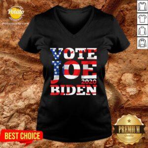 Hot Vote Joe Biden 2020 American Flag V-neck - Design By Potatotees.com