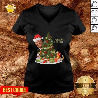 Nice Donald Trump Santa Merry Christmas Tree V-neck - Design By Potatotees.com
