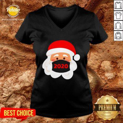 Nice Santa Claus Wearing Face Mask 2020 Christmas V-neck - Design By Potatotees.com