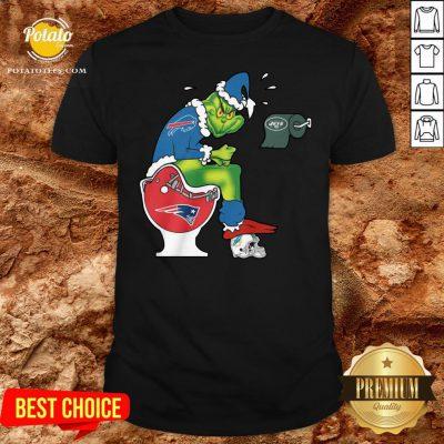 Nice The Grinch Buffalo Bills Shit On Toilet New England Patriots Christmas Shirt - Design By Potatotees.com