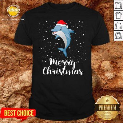 Official Dolphins Santa Reindeer Light Christmas Shirt - Design By Potatotees.com