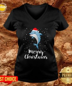 Official Dolphins Santa Reindeer Light Christmas V-neck - Design By Potatotees.com