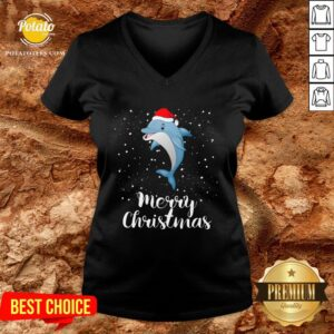 Official Dolphins Santa Reindeer Light Christmas V-neck - Design By Potatotees.com