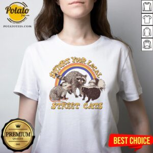 Official Support Your Local Street Cats V-neck - Design By Potatotees.com