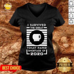 Original I Survived The Great Toilet Paper Shortage Of 2020 Quarantine V-neck - Design By Potatotees.com