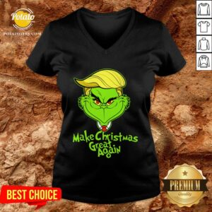 Perfect Grinch Trump Make Christmas Great Again V-neck - Design By Potatotees.com