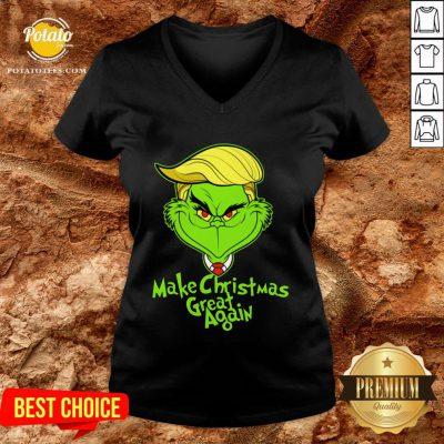 Perfect Grinch Trump Make Christmas Great Again V-neck - Design By Potatotees.com