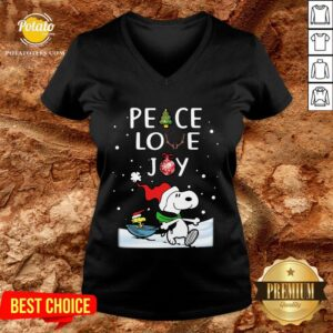Perfect Merry Christmas Peanuts Snoopy Peace Love Joy V-neck - Design By Potatotees.com
